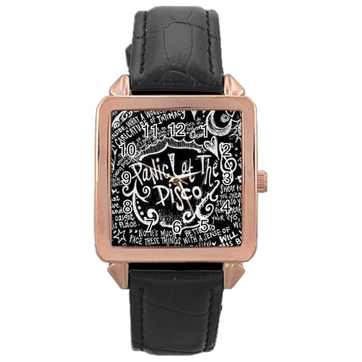 Panic ! At The Disco Lyric Quotes Rose Gold Leather Watch