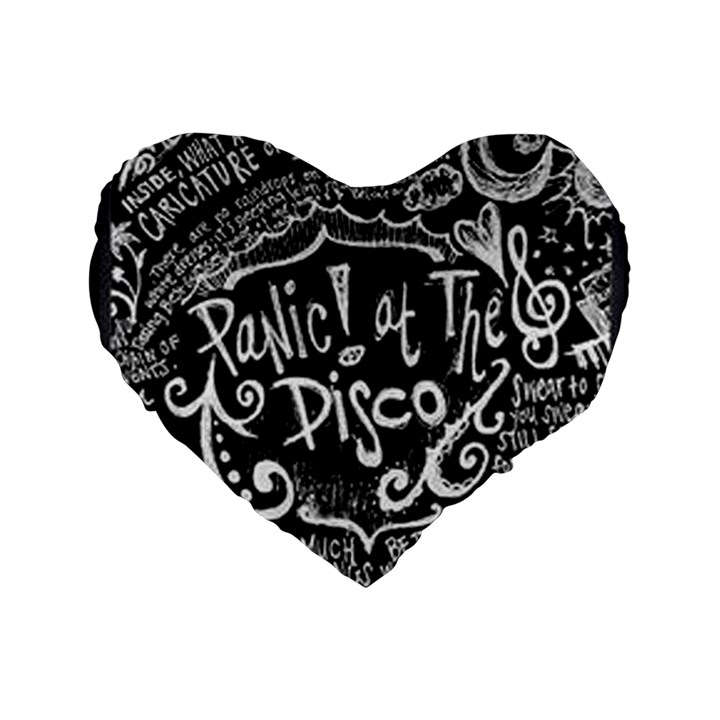 Panic ! At The Disco Lyric Quotes Standard 16  Premium Flano Heart Shape Cushions
