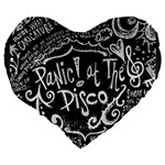 Panic ! At The Disco Lyric Quotes Large 19  Premium Flano Heart Shape Cushions Back