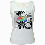 Panic ! At The Disco Women s White Tank Top Front