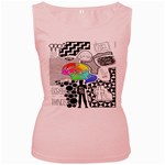Panic ! At The Disco Women s Pink Tank Top Front
