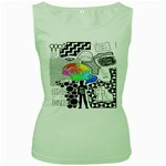 Panic ! At The Disco Women s Green Tank Top Front