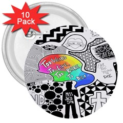 Panic ! At The Disco 3  Buttons (10 Pack)