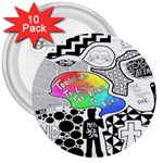 Panic ! At The Disco 3  Buttons (10 pack)  Front