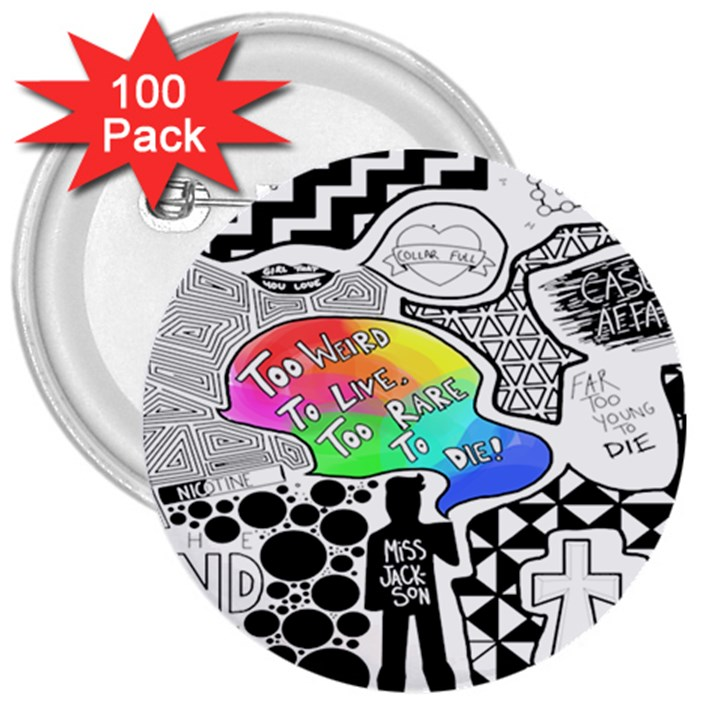 Panic ! At The Disco 3  Buttons (100 pack)