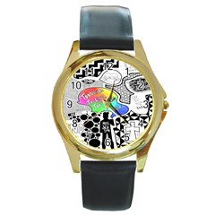 Panic ! At The Disco Round Gold Metal Watch