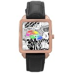 Panic ! At The Disco Rose Gold Leather Watch  Front