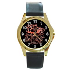 Panic At The Disco   Lying Is The Most Fun A Girl Have Without Taking Her Clothes Round Gold Metal Watch