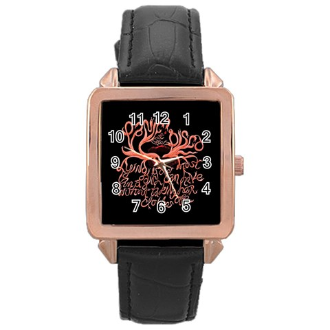 Panic At The Disco   Lying Is The Most Fun A Girl Have Without Taking Her Clothes Rose Gold Leather Watch