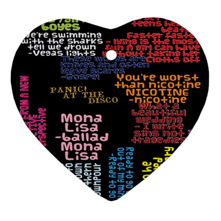 Panic At The Disco Northern Downpour Lyrics Metrolyrics Ornament (Heart)