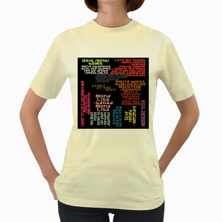 Panic At The Disco Northern Downpour Lyrics Metrolyrics Women s Yellow T-Shirt