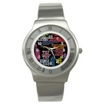 Panic At The Disco Northern Downpour Lyrics Metrolyrics Stainless Steel Watch Front