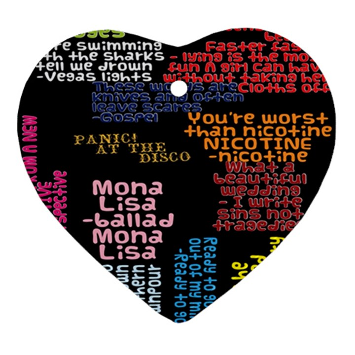 Panic At The Disco Northern Downpour Lyrics Metrolyrics Heart Ornament (2 Sides)