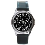 Black And White Starry Pattern Round Metal Watch Front