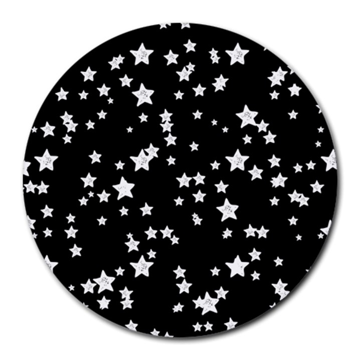 Black And White Starry Pattern Round Mousepads