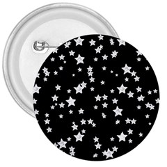 Black And White Starry Pattern 3  Buttons