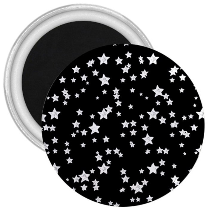 Black And White Starry Pattern 3  Magnets