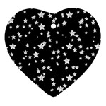Black And White Starry Pattern Ornament (Heart)  Front