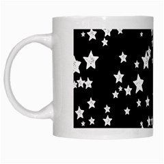 Black And White Starry Pattern White Mugs