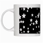 Black And White Starry Pattern White Mugs Left