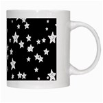 Black And White Starry Pattern White Mugs Right