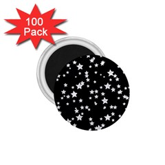 Black And White Starry Pattern 1 75  Magnets (100 Pack)