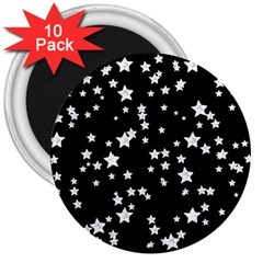Black And White Starry Pattern 3  Magnets (10 pack)