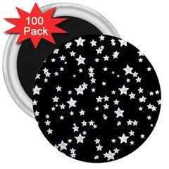 Black And White Starry Pattern 3  Magnets (100 pack)