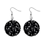 Black And White Starry Pattern Mini Button Earrings Front