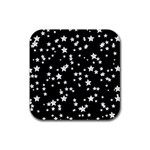 Black And White Starry Pattern Rubber Square Coaster (4 pack)  Front