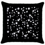 Black And White Starry Pattern Throw Pillow Case (Black) Front