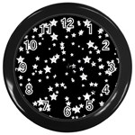 Black And White Starry Pattern Wall Clocks (Black) Front