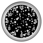 Black And White Starry Pattern Wall Clocks (Silver)  Front