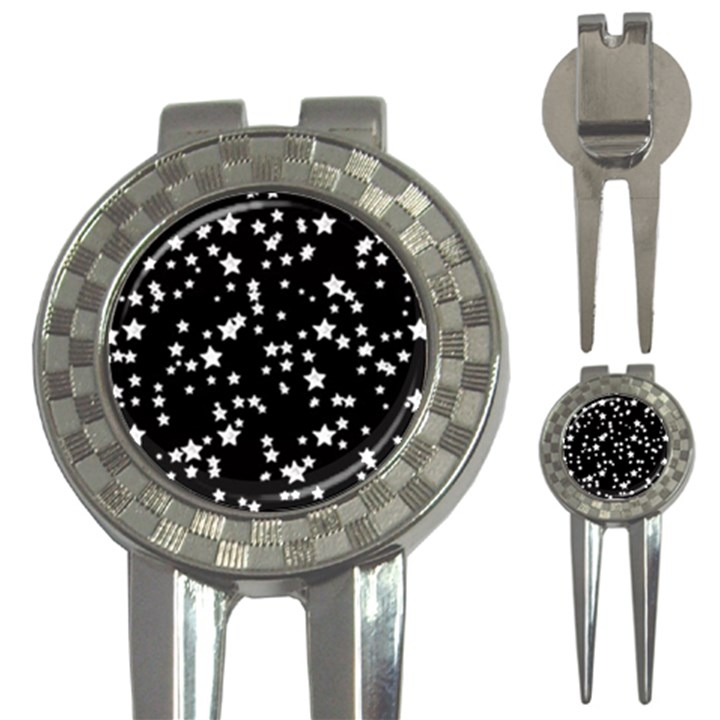 Black And White Starry Pattern 3-in-1 Golf Divots