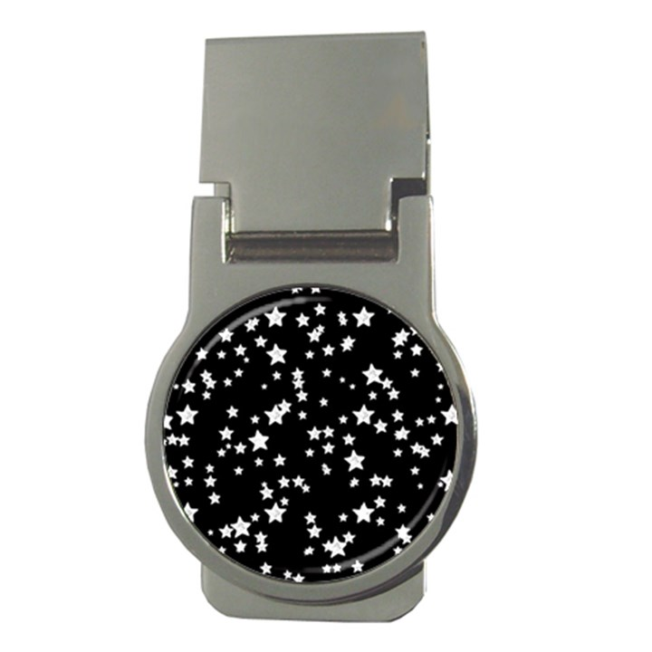 Black And White Starry Pattern Money Clips (Round)
