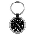 Black And White Starry Pattern Key Chains (Round)  Front