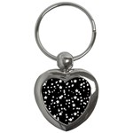 Black And White Starry Pattern Key Chains (Heart)  Front