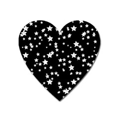 Black And White Starry Pattern Heart Magnet