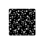 Black And White Starry Pattern Square Magnet Front