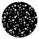 Black And White Starry Pattern Magnet 5  (Round) Front