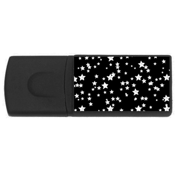 Black And White Starry Pattern USB Flash Drive Rectangular (1 GB)
