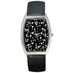 Black And White Starry Pattern Barrel Style Metal Watch Front