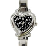 Black And White Starry Pattern Heart Italian Charm Watch Front