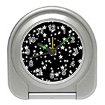 Black And White Starry Pattern Travel Alarm Clocks Front