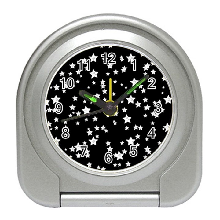 Black And White Starry Pattern Travel Alarm Clocks