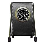 Black And White Starry Pattern Pen Holder Desk Clocks Front