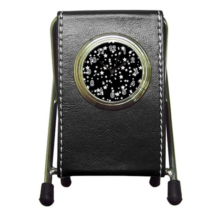 Black And White Starry Pattern Pen Holder Desk Clocks