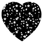 Black And White Starry Pattern Jigsaw Puzzle (Heart) Front