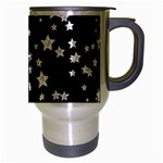 Black And White Starry Pattern Travel Mug (Silver Gray) Right