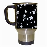 Black And White Starry Pattern Travel Mugs (White) Left